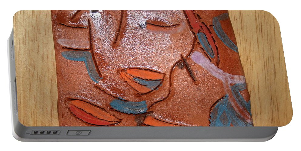 Jesus Portable Battery Charger featuring the ceramic art Hugs - Tile by Gloria Ssali