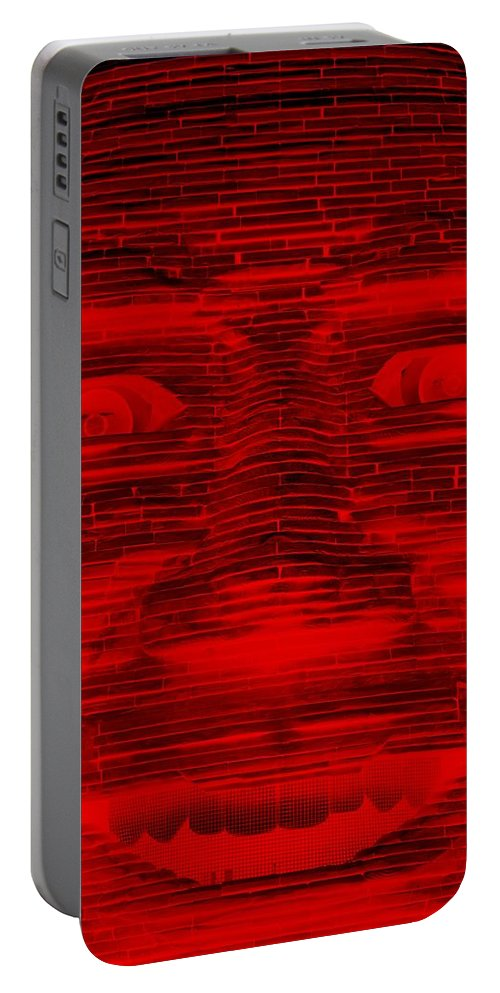 Architecture Portable Battery Charger featuring the photograph In Your Face In Negative Red by Rob Hans