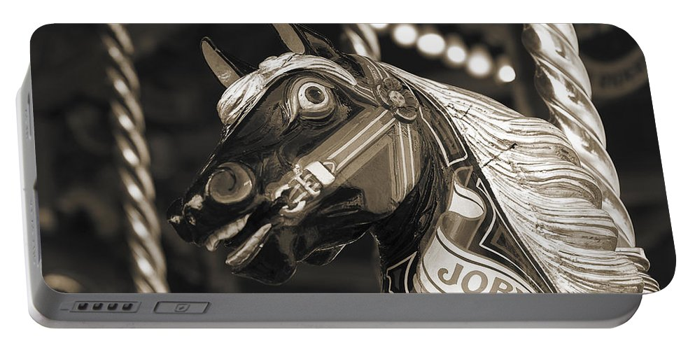 Carousel Portable Battery Charger featuring the photograph Joby The Carousel Horse by Beth Riser