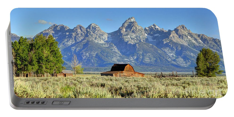 Grand Portable Battery Charger featuring the photograph John Moulton Barn - Grand Teton National Park by Gary Whitton