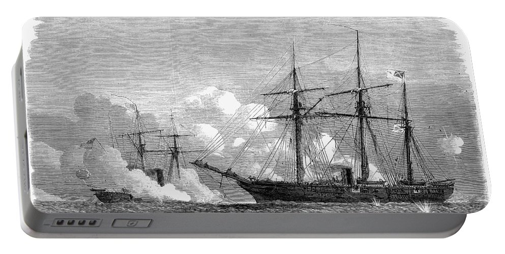 1864 Portable Battery Charger featuring the photograph Kearsarge & Alabama, 1864 by Granger