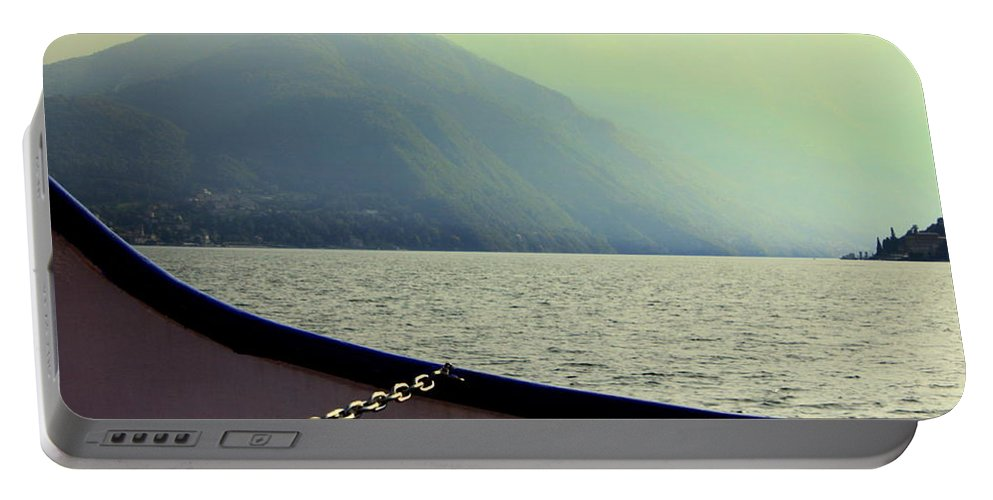 Haze Portable Battery Charger featuring the photograph Lake Of Como by Valentino Visentini