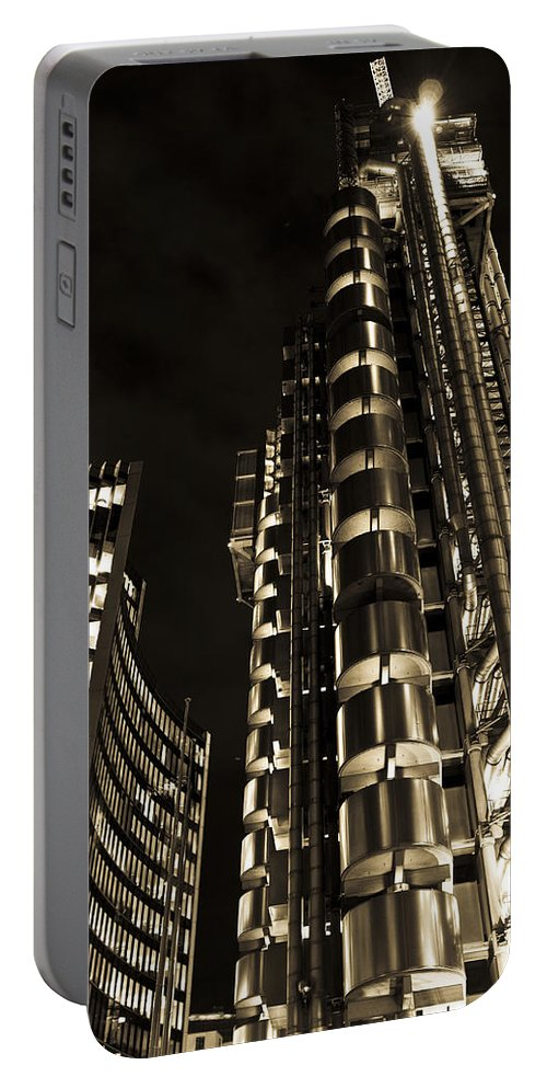 Lloyd's Portable Battery Charger featuring the photograph Lloyds Building London In Gold by David Pyatt