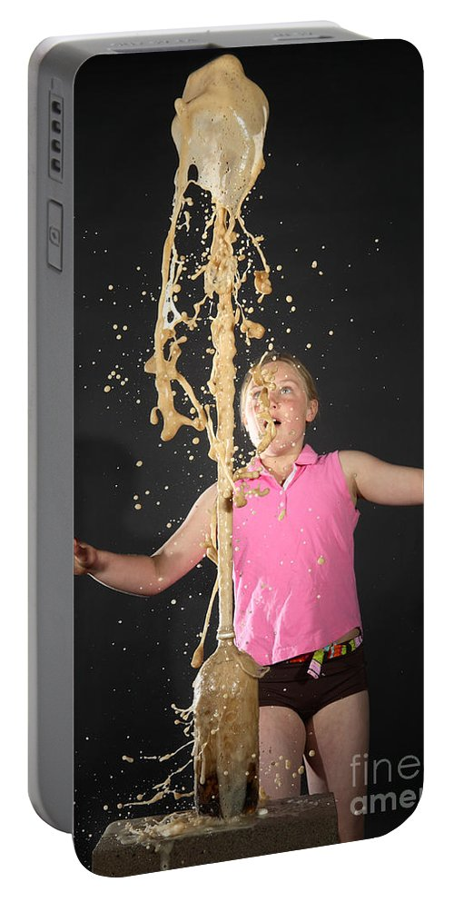 Mentos Portable Battery Charger featuring the photograph Mentos And Soda Reaction by Ted Kinsman