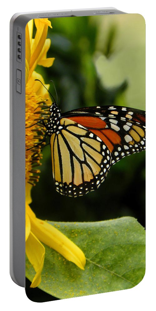 Monarch Portable Battery Charger featuring the photograph Monarch And The Sunflower by Sandi OReilly