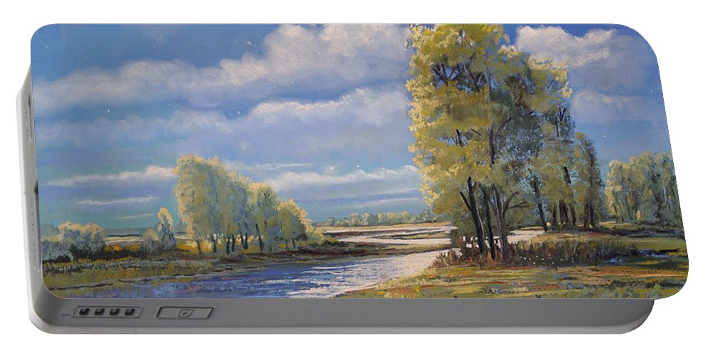 Moon Light On Clear Creek Portable Battery Charger featuring the painting Moonlight On Clear Creek by Heather Coen