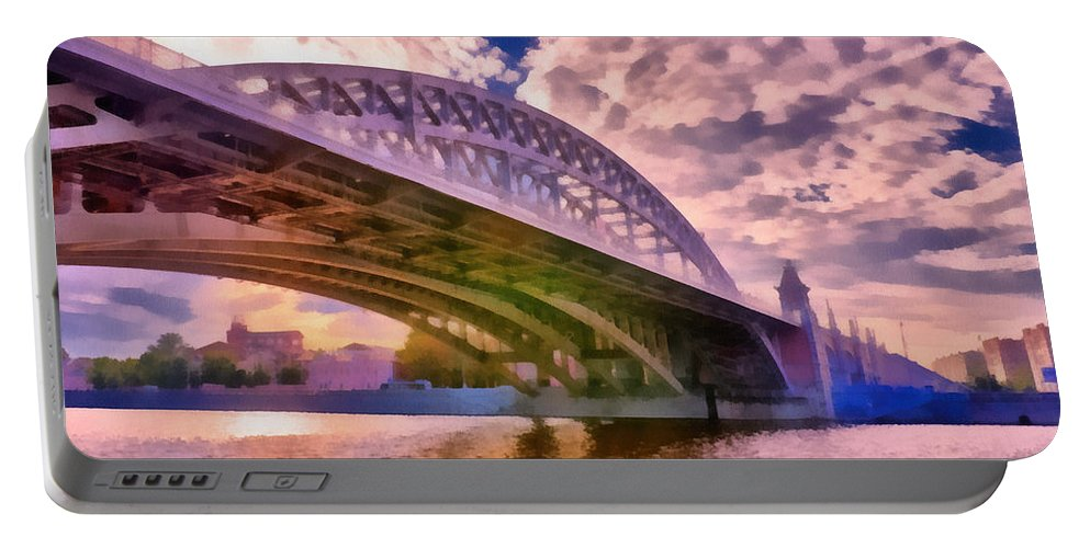 Art Portable Battery Charger featuring the photograph Moscow's Bridges by Michael Goyberg