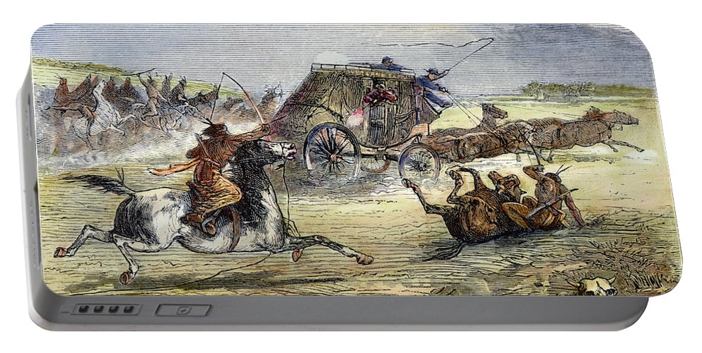 1860s Portable Battery Charger featuring the photograph Native American Attack On Coach by Granger