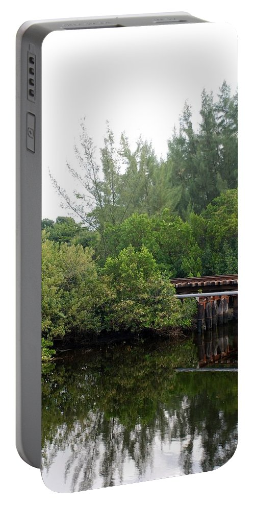 Green Portable Battery Charger featuring the photograph North Fork River by Rob Hans