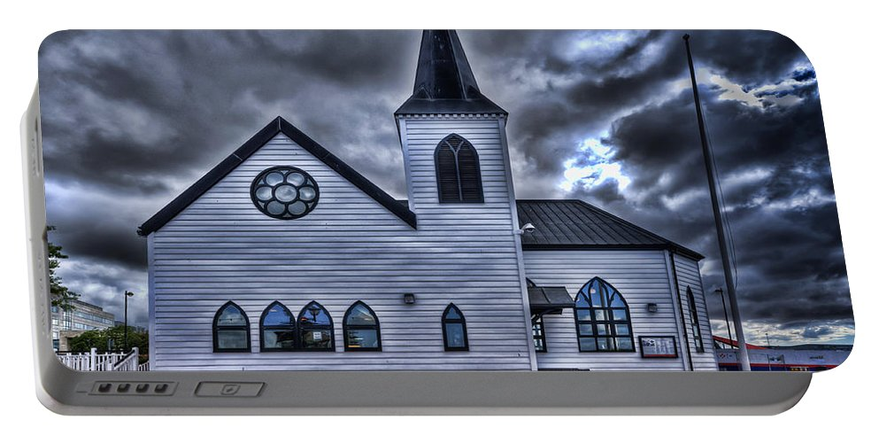 Norwegian Church Cardiff Portable Battery Charger featuring the photograph Norwegian Church Cardiff Bay by Steve Purnell