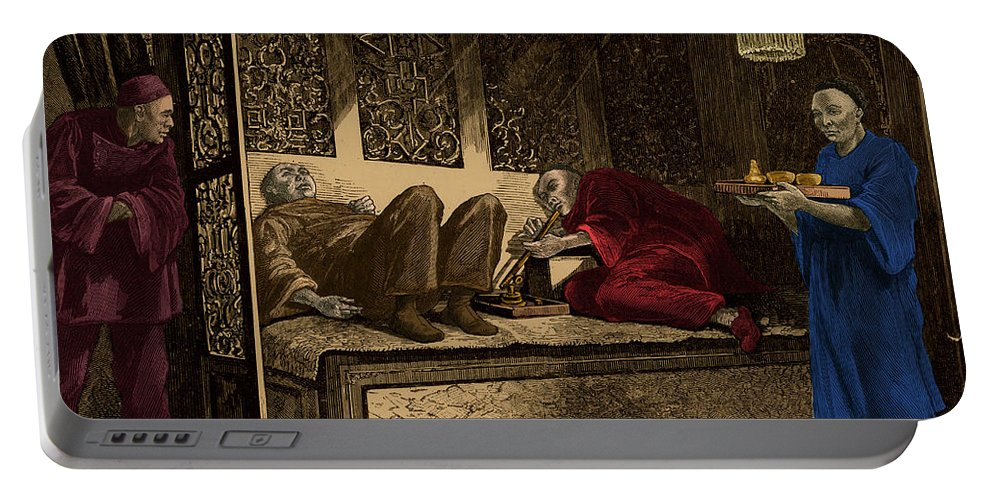 Science Portable Battery Charger featuring the photograph Opium Den by Photo Researchers