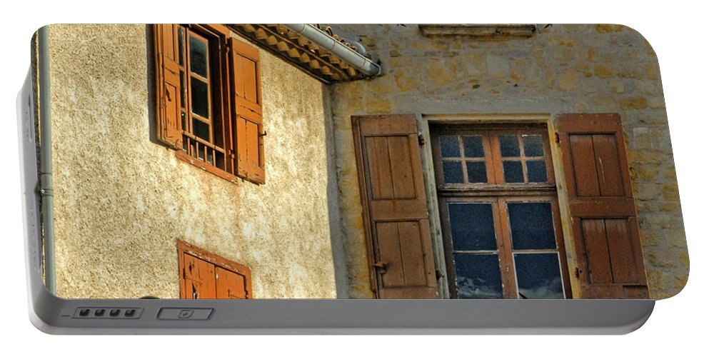 Orange Portable Battery Charger featuring the photograph Orange Windows In Provence by Dave Mills