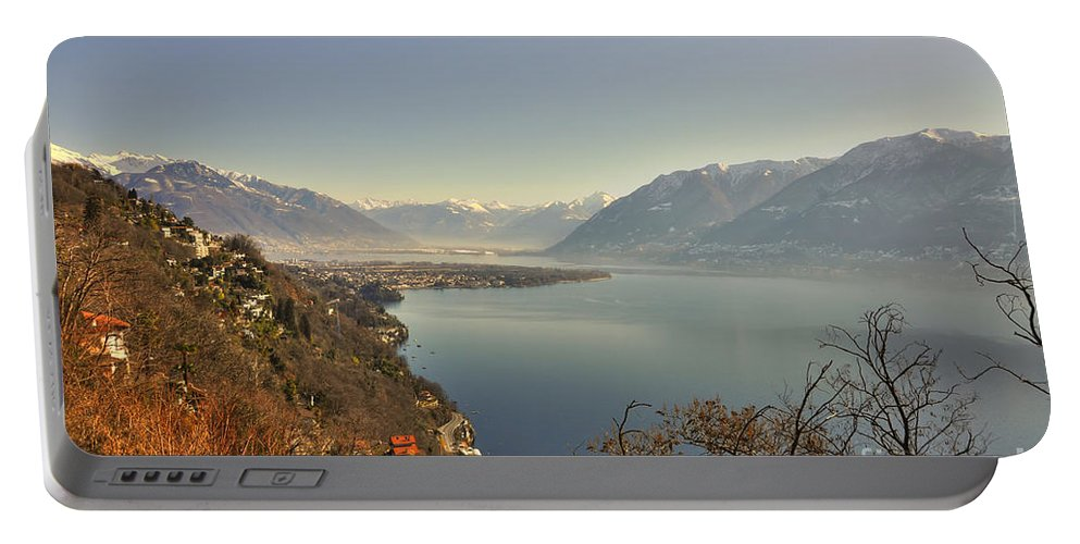 Panoramic View Portable Battery Charger featuring the photograph Panoramic View Over A Lake by Mats Silvan