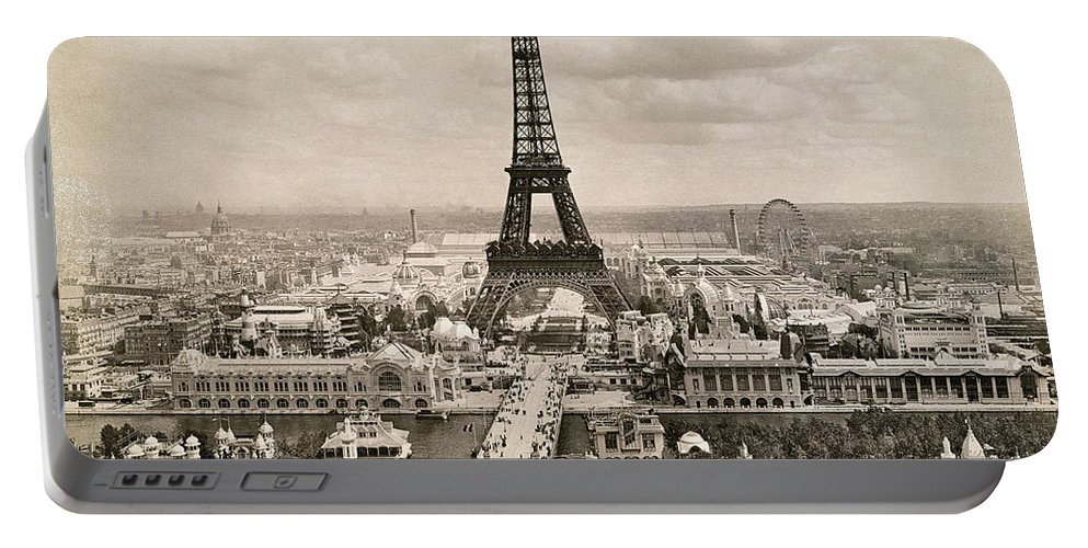 1900 Portable Battery Charger featuring the photograph Paris: Eiffel Tower, 1900 by Granger