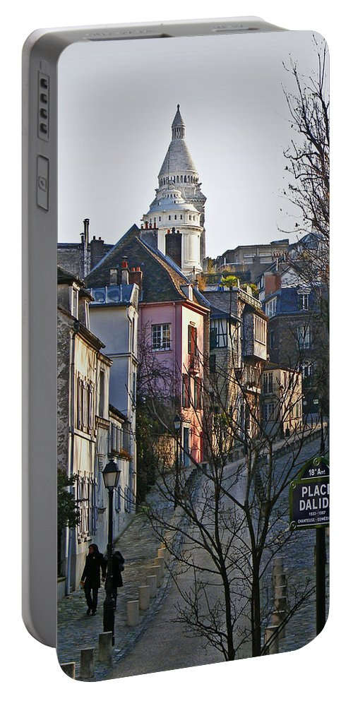 Paris Portable Battery Charger featuring the photograph Parisian Street Scene by David Pringle