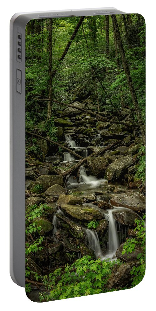 Great Smoky Mountains National Park Portable Battery Charger featuring the photograph Peaceful Cascade by Charlie Choc