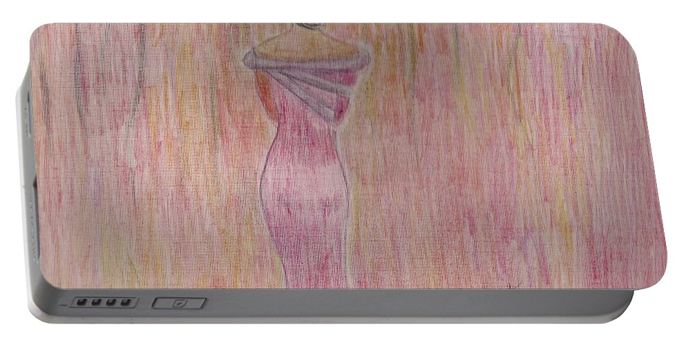 Woman In Pink Facing Foward Portable Battery Charger featuring the mixed media Pink Lady by Mary Potts
