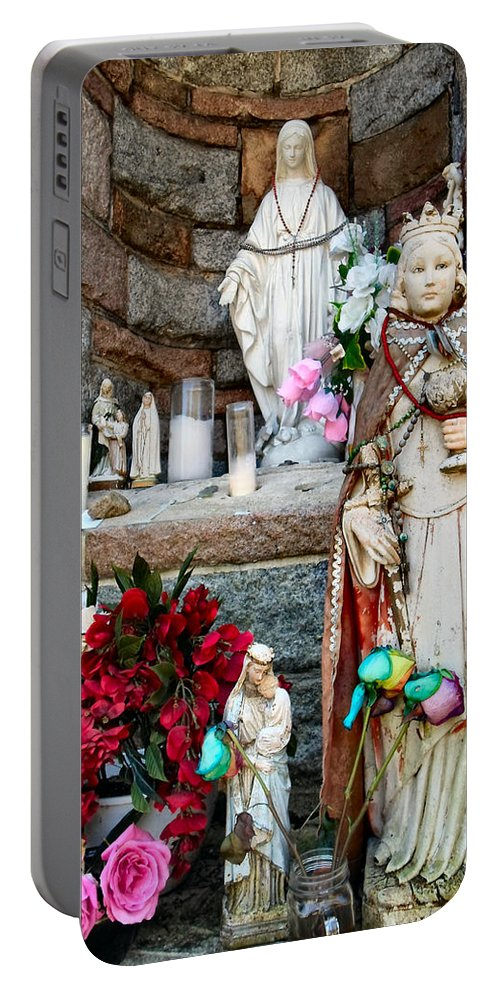Shrine Portable Battery Charger featuring the photograph Prayer by Art Dingo