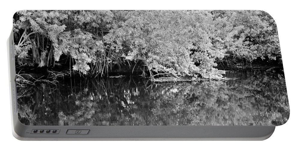 Black And White Portable Battery Charger featuring the photograph Reflections On The North Fork River In Black And White by Rob Hans