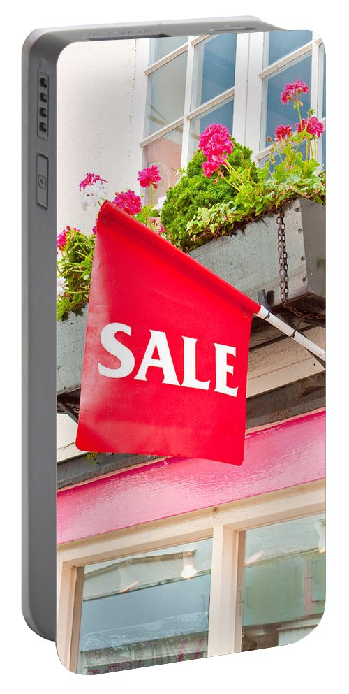 Bargain Portable Battery Charger featuring the photograph Sale Sign by Tom Gowanlock