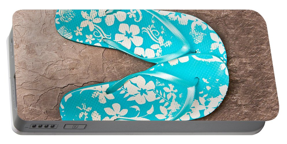 Blue Portable Battery Charger featuring the photograph Sandals by Tom Gowanlock