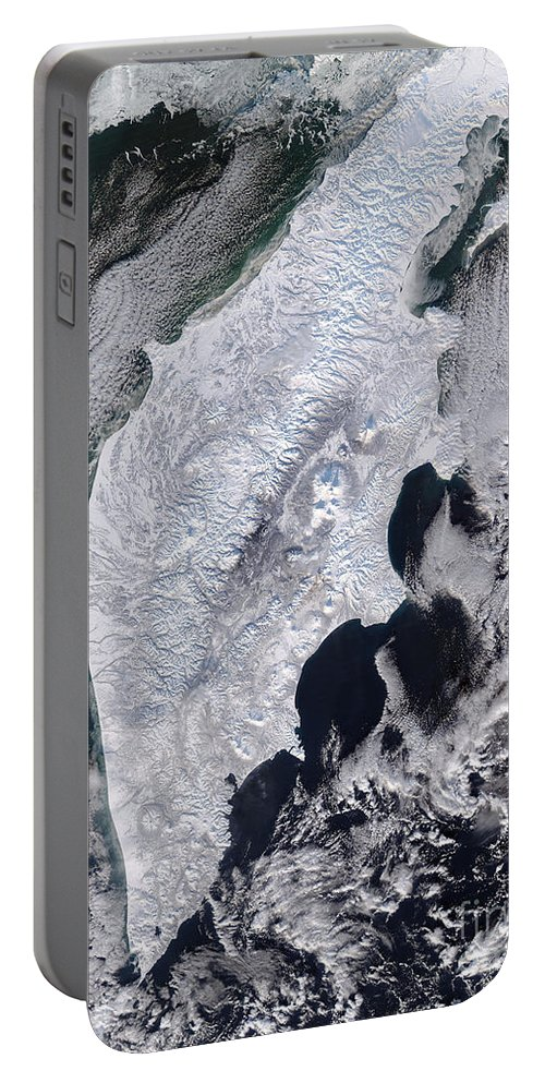 Color Image Portable Battery Charger featuring the photograph Satellite View Of Kamchatka Peninsula by Stocktrek Images