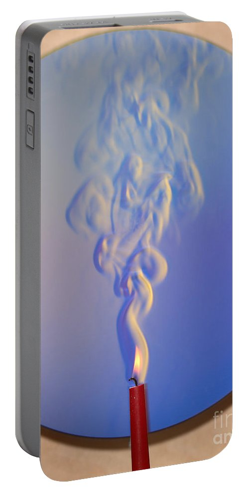 Schlieren Portable Battery Charger featuring the photograph Schlieren Image Of A Candle by Ted Kinsman