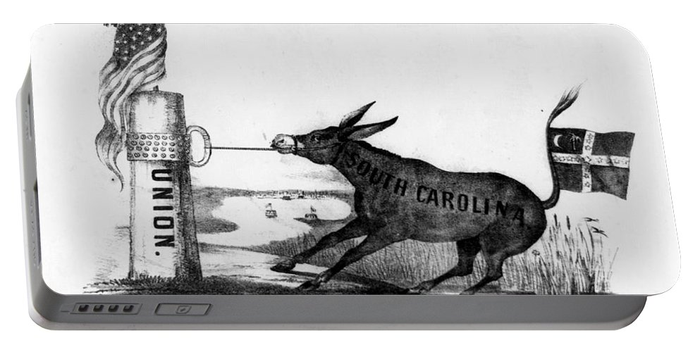 1861 Portable Battery Charger featuring the photograph Secession Cartoon, 1861 by Granger