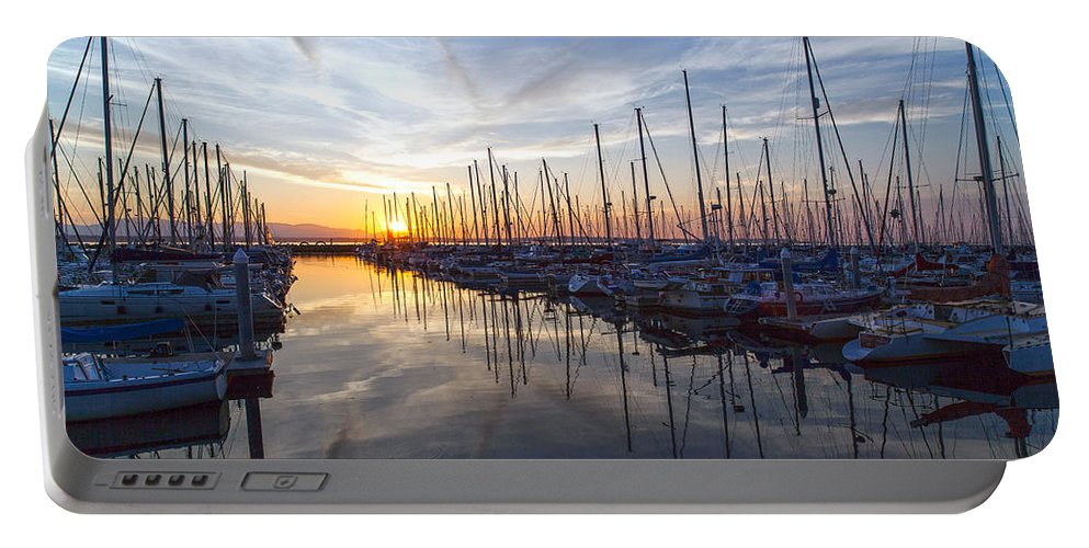 Sunset Portable Battery Charger featuring the photograph Shilshole Tranquility by Mike Reid