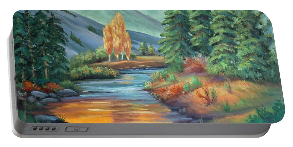 Sierra Creek Portable Battery Charger featuring the painting Sierra Creek by Don Monahan