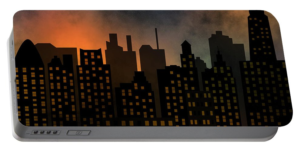 Modern Portable Battery Charger featuring the digital art Skyscrapers by Michal Boubin