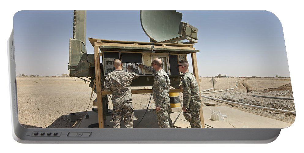 Camp Speicher Portable Battery Charger featuring the photograph Soldiers Checking A Radar System by Terry Moore