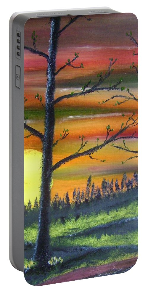 Spring Portable Battery Charger featuring the painting Spring Sunrise by Charles and Melisa Morrison