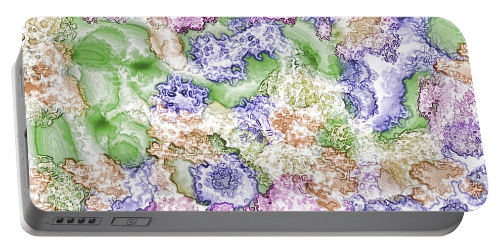 Abstract Portable Battery Charger featuring the digital art Strange New World by Debbie Portwood