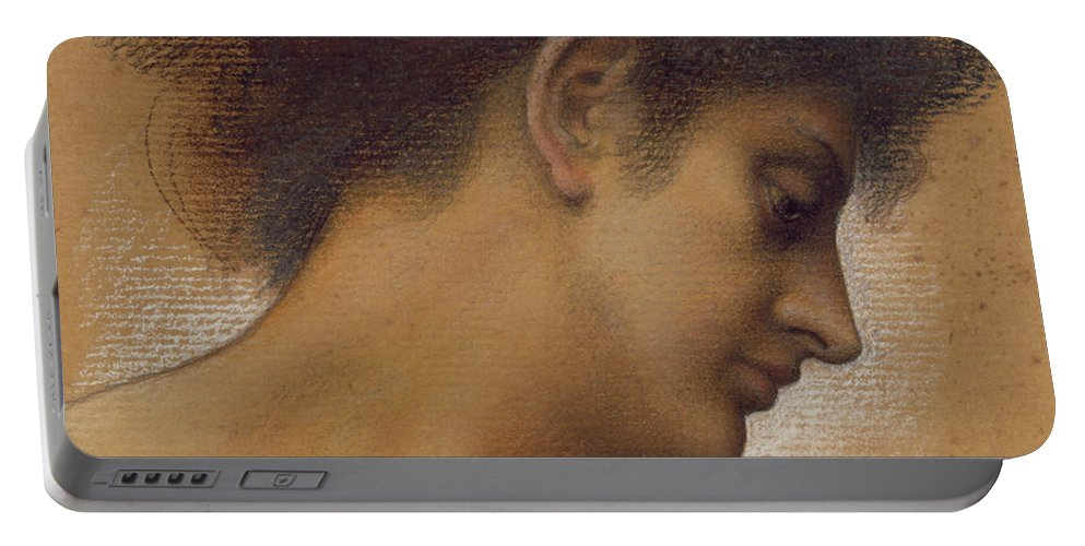 Female; Profile; Drawing Portable Battery Charger featuring the pastel Study Of A Head by Evelyn De Morgan