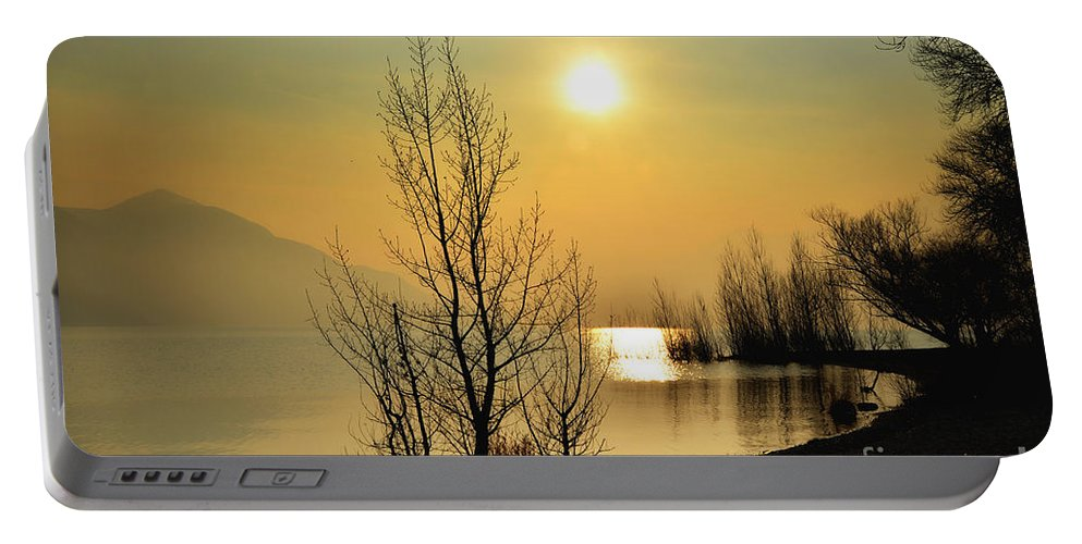 Tree Portable Battery Charger featuring the photograph Sunlight Over A Lake by Mats Silvan