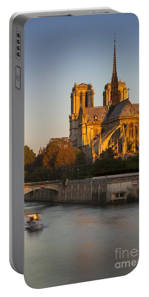 Architectural Portable Battery Charger featuring the photograph Sunrise Over Notre Dame by Brian Jannsen
