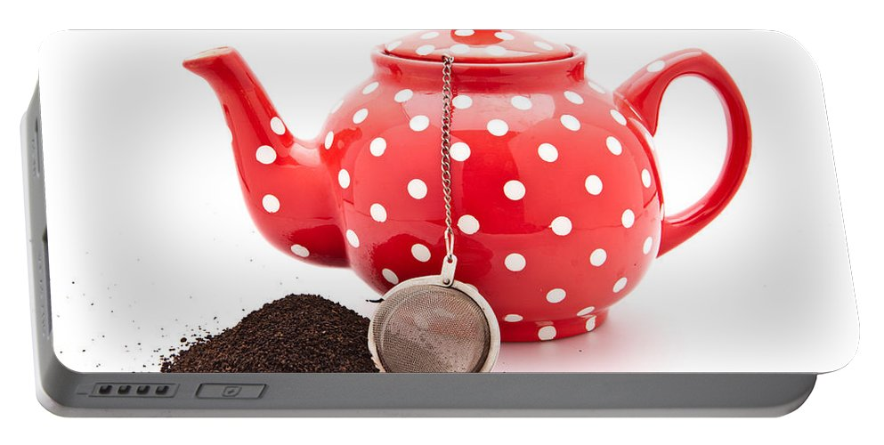 Break Portable Battery Charger featuring the photograph Teapot by Tom Gowanlock