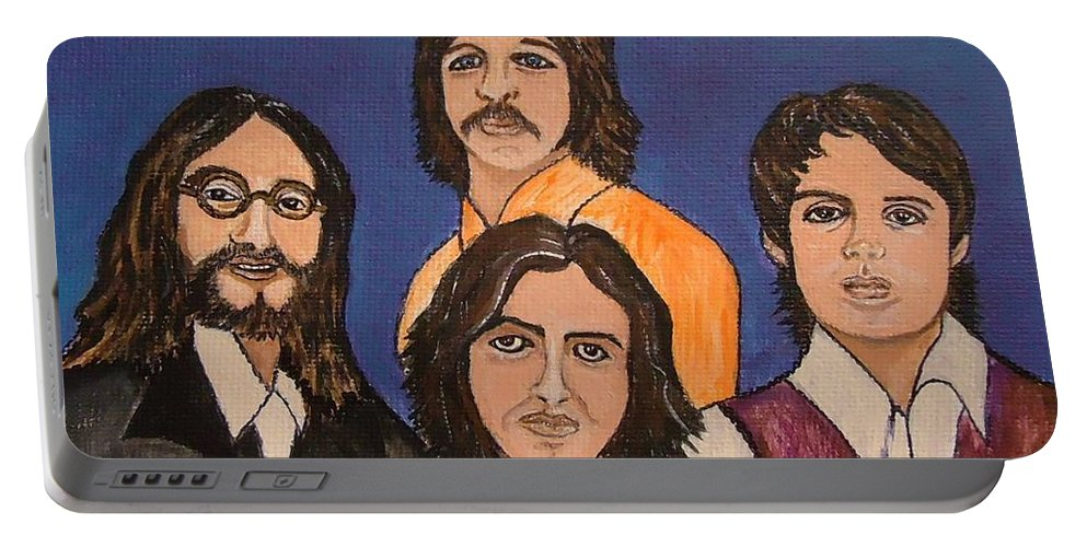 Singers Portable Battery Charger featuring the painting The Fab Four Beatles by Lois  Rivera