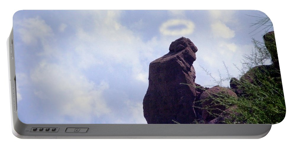 'praying Monk' Portable Battery Charger featuring the photograph The Praying Monk With Halo - Camelback Mountain by James BO Insogna