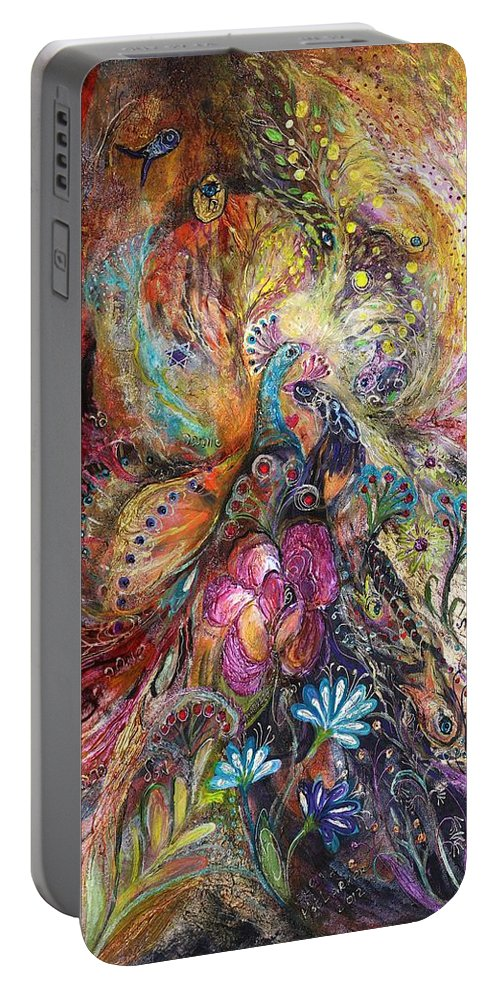 Judaica Portable Battery Charger featuring the painting The Shining Of Gold by Elena Kotliarker