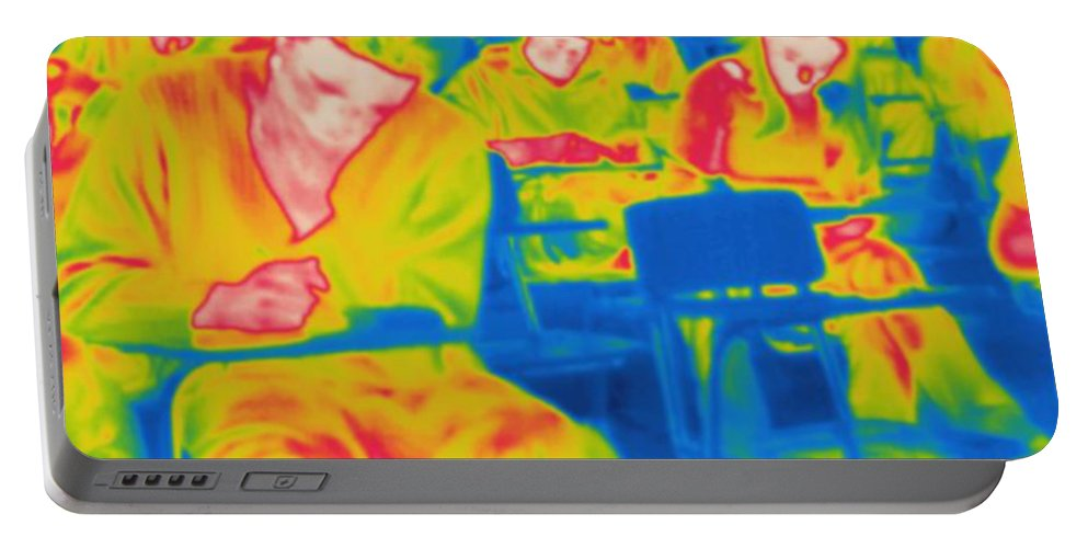 Thermogram Portable Battery Charger featuring the photograph Thermogram Of Students In A Lecture by Ted Kinsman