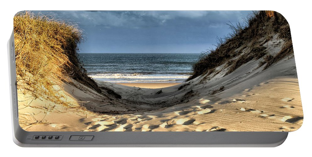Ocean Portable Battery Charger featuring the photograph To The Sea by Lynne Jenkins