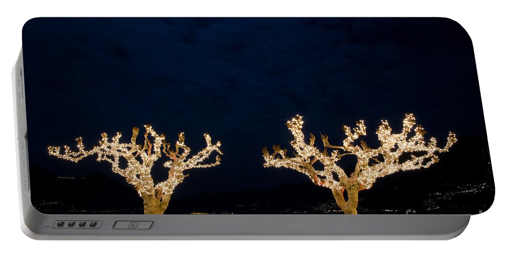 Trees Portable Battery Charger featuring the photograph Trees With Lights by Mats Silvan