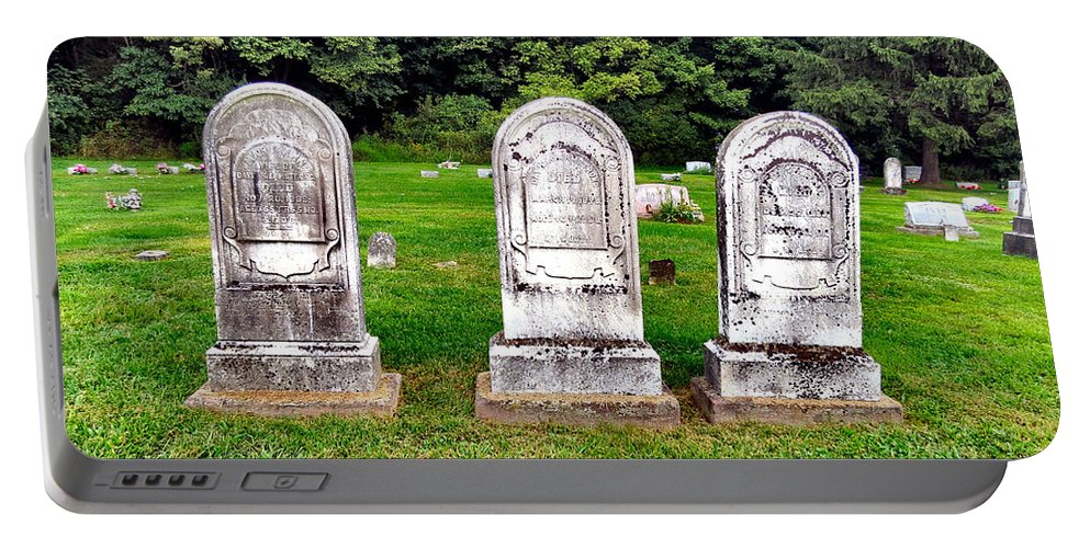 Headstones Portable Battery Charger featuring the photograph Trio by Art Dingo