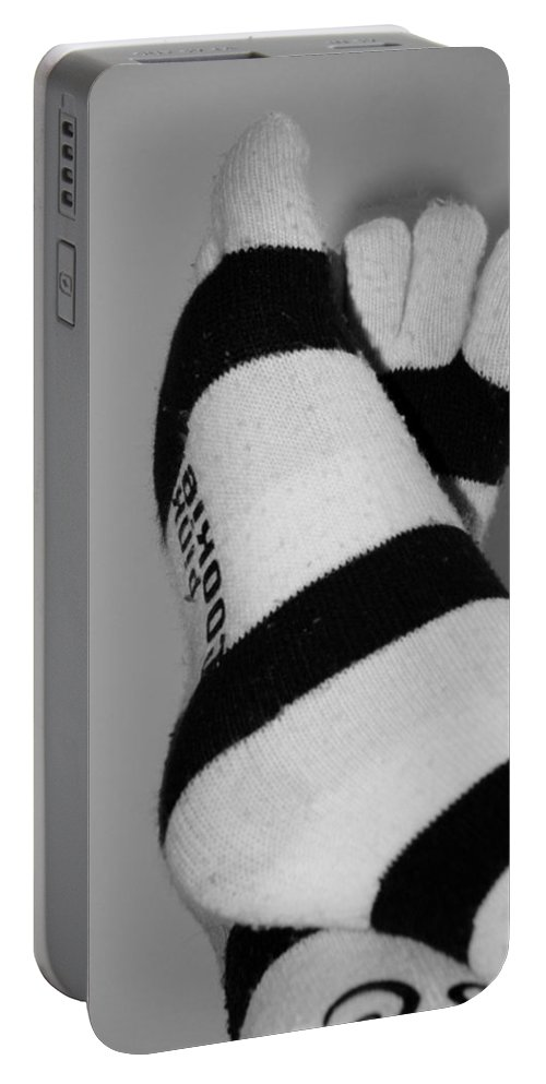 Feet Portable Battery Charger featuring the photograph Val's Feet In Black And White by Rob Hans