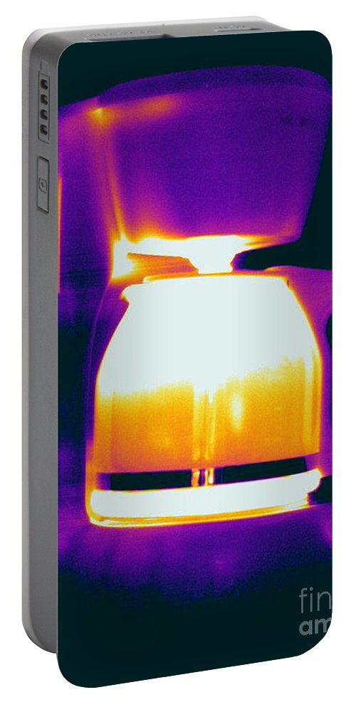 Thermogram Portable Battery Charger featuring the photograph Warming Coffee Machine by Ted Kinsman