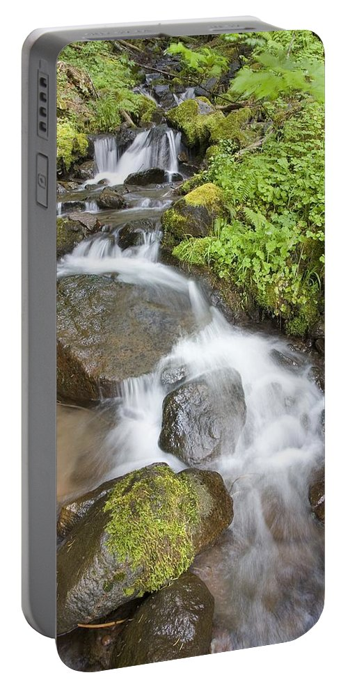 Attractions Portable Battery Charger featuring the photograph Water Cascading Over Rocks, Mount Hood by Craig Tuttle