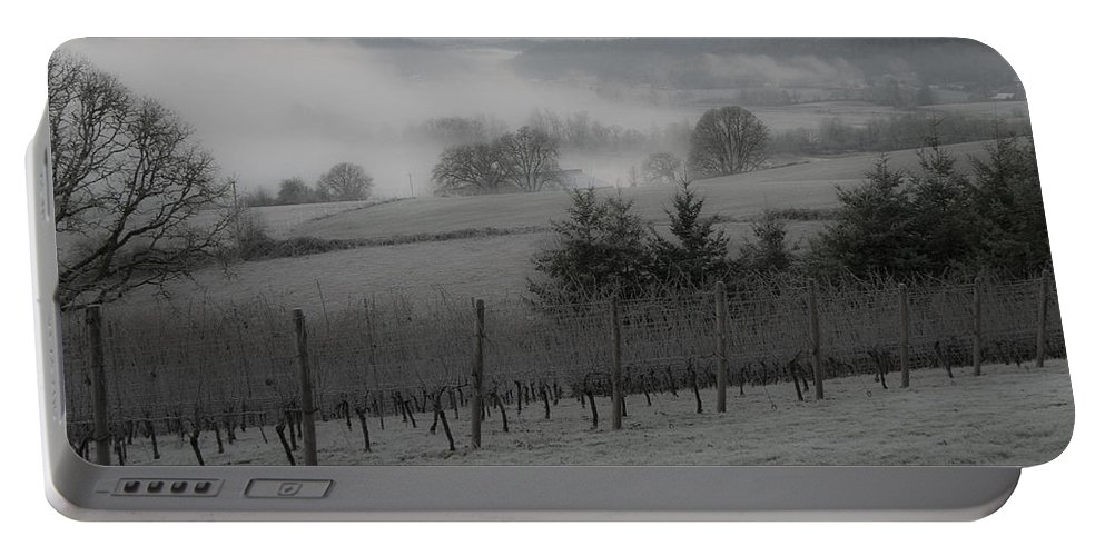 Vineyard Portable Battery Charger featuring the photograph Winter Vineyard by Jean Noren
