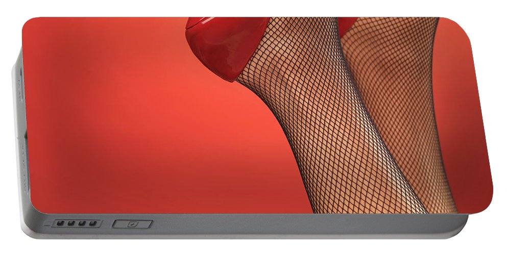 Footwear Portable Battery Charger featuring the photograph Woman In Red High Heel Shoes by Oleksiy Maksymenko